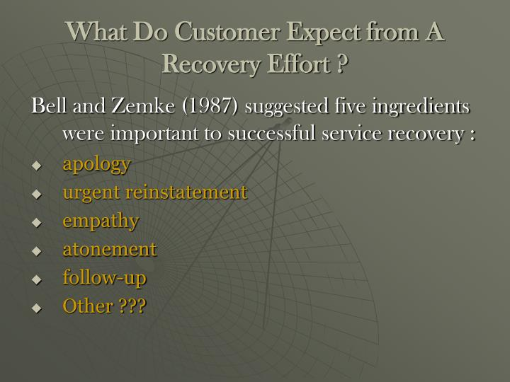 What Do Customer Expect from A Recovery Effort ?