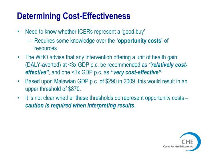 Determining Cost-Effectiveness
