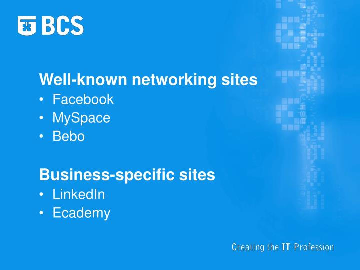 Well-known networking sites