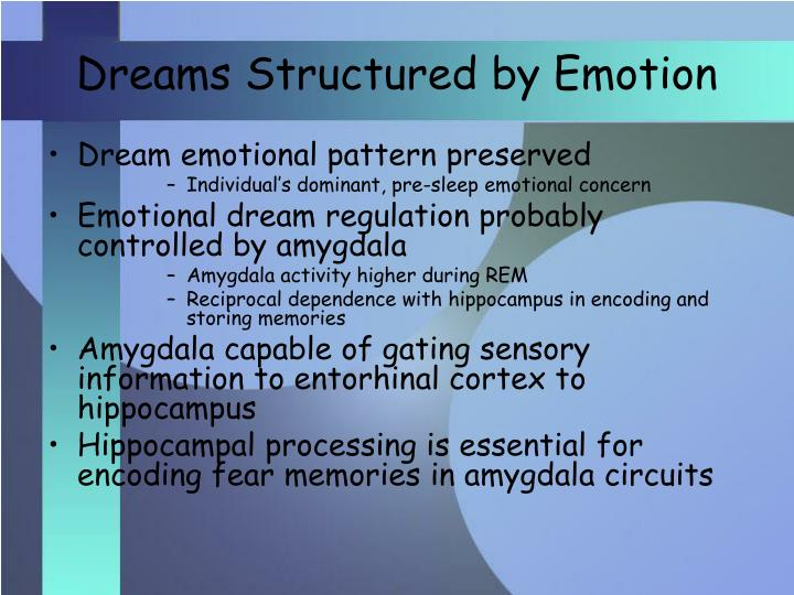Dreams Structured by Emotion