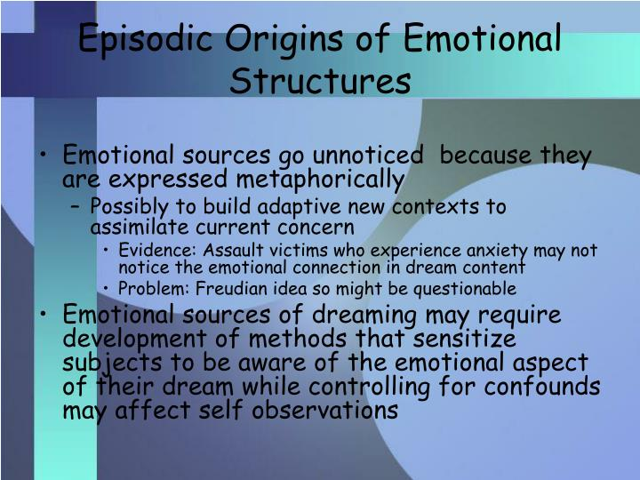 Episodic Origins of Emotional Structures