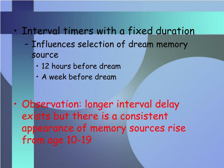 Interval timers with a fixed duration