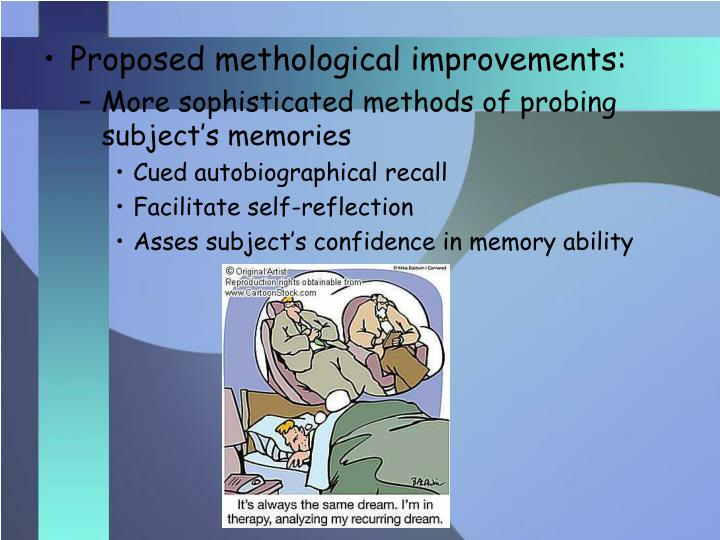 Proposed methological improvements: