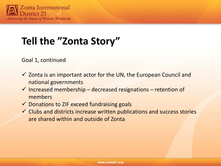 "Tell the ""Zonta Story"""