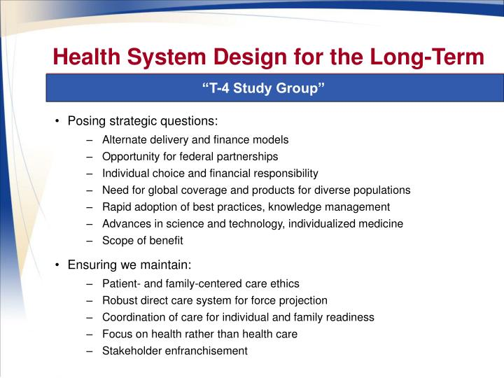 Health System Design for the Long-Term