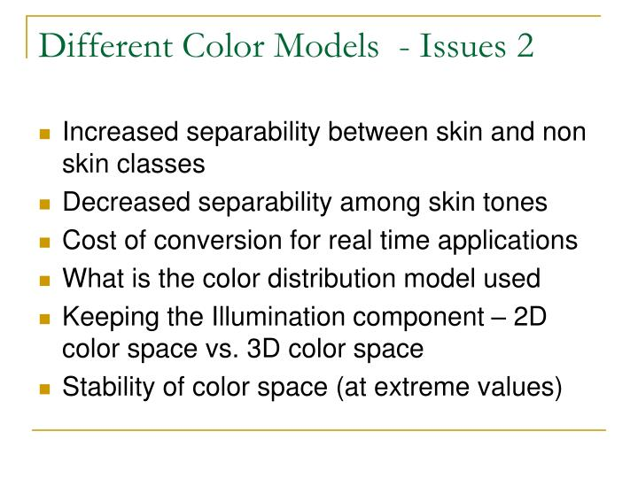 Different Color Models  - Issues 2