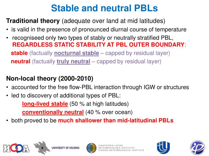 Stable and neutral PBLs