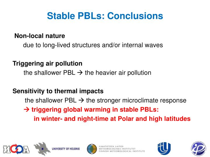 Stable PBLs: Conclusions
