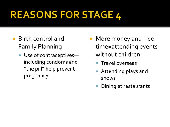REASONS FOR STAGE 4