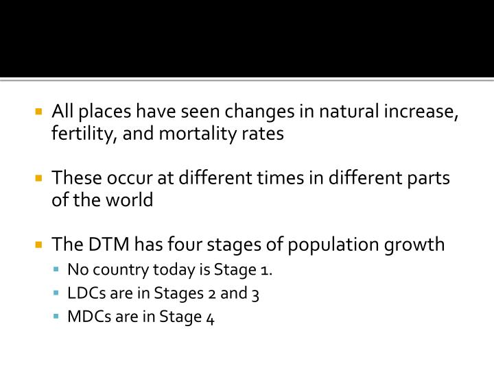 All places have seen changes in natural increase, fertility, and mortality rates