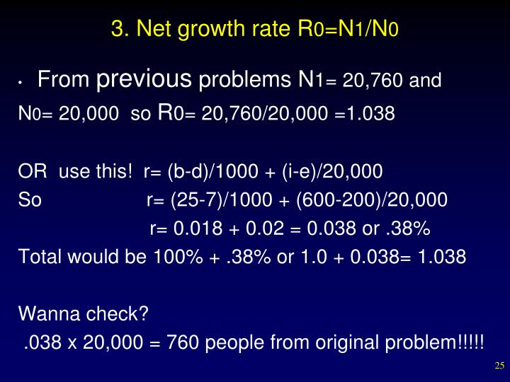 3. Net growth rate R