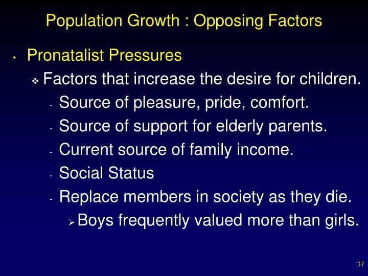 Population Growth : Opposing Factors