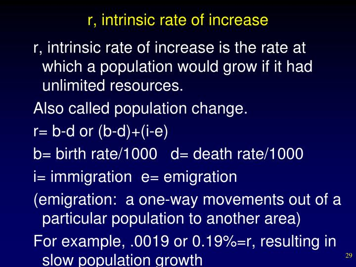 r, intrinsic rate of increase