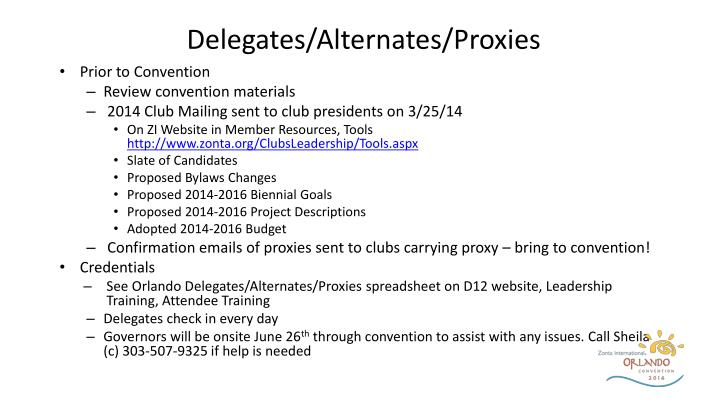 Delegates/Alternates/Proxies