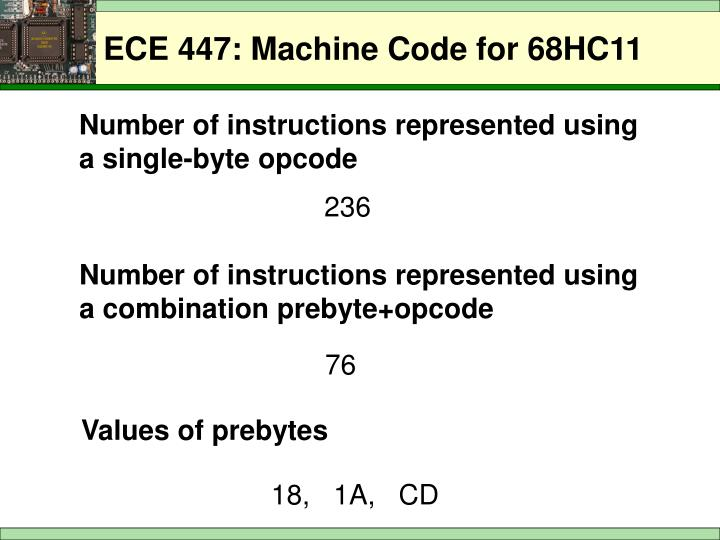 Number of instructions represented using