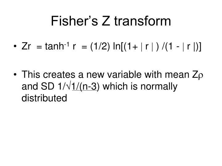 Fisher's Z transform
