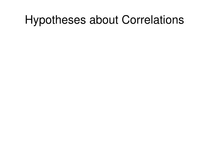 Hypotheses about Correlations