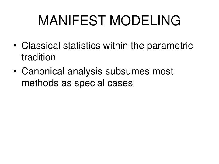 MANIFEST MODELING