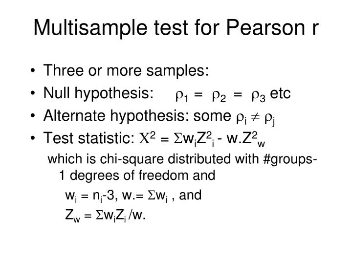 Multisample test for Pearson r