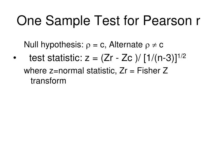 One Sample Test for Pearson r