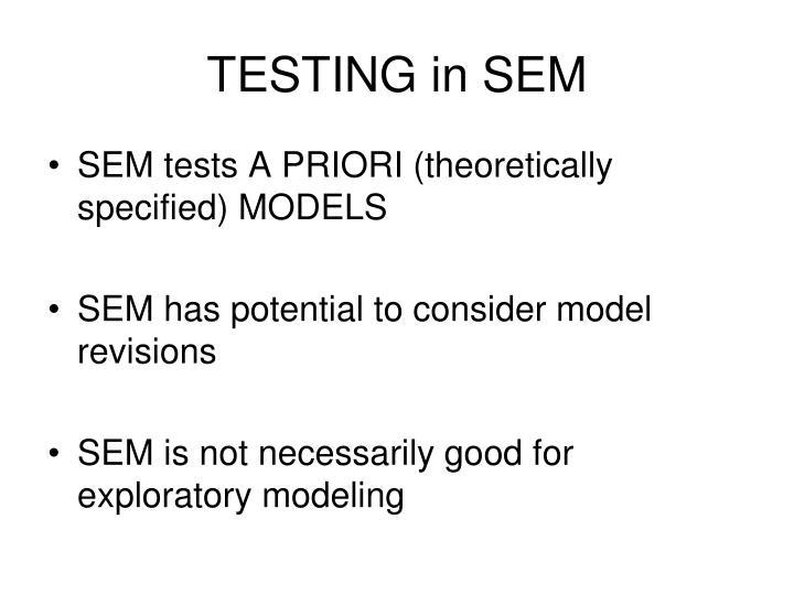 TESTING in SEM