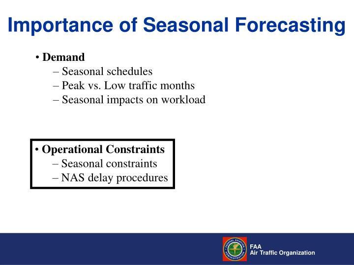 Importance of Seasonal Forecasting
