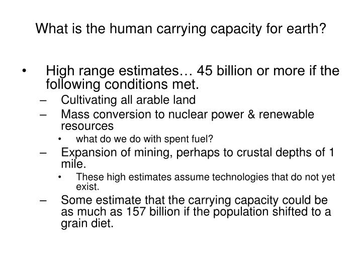 What is the human carrying capacity for earth?