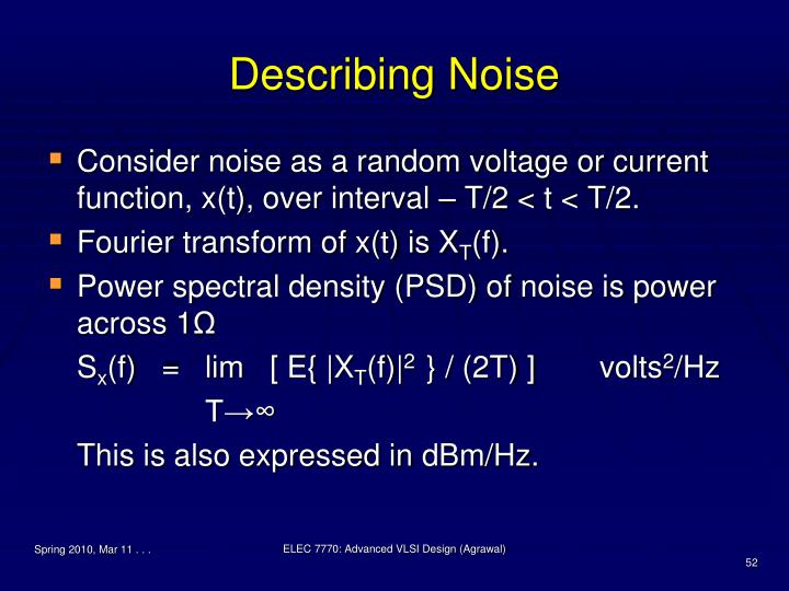 Describing Noise
