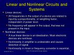 linear and nonlinear circuits and systems
