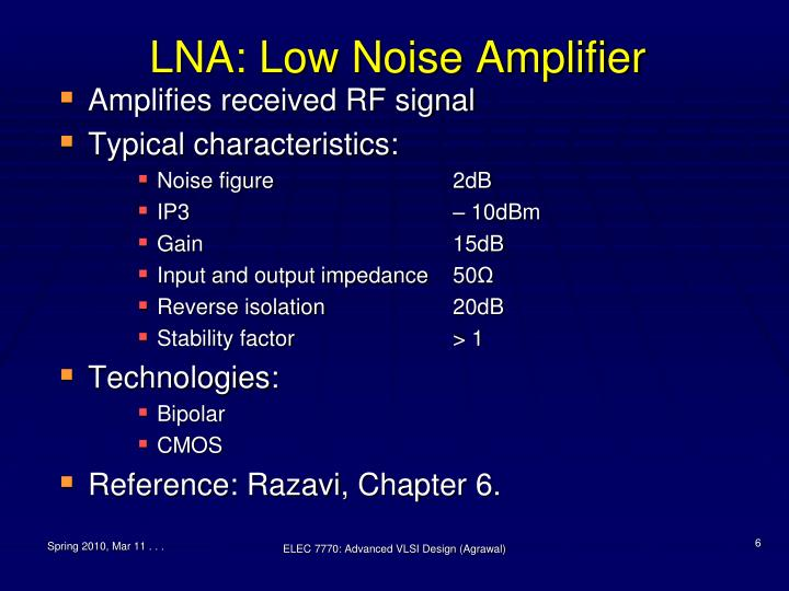 LNA: Low Noise Amplifier
