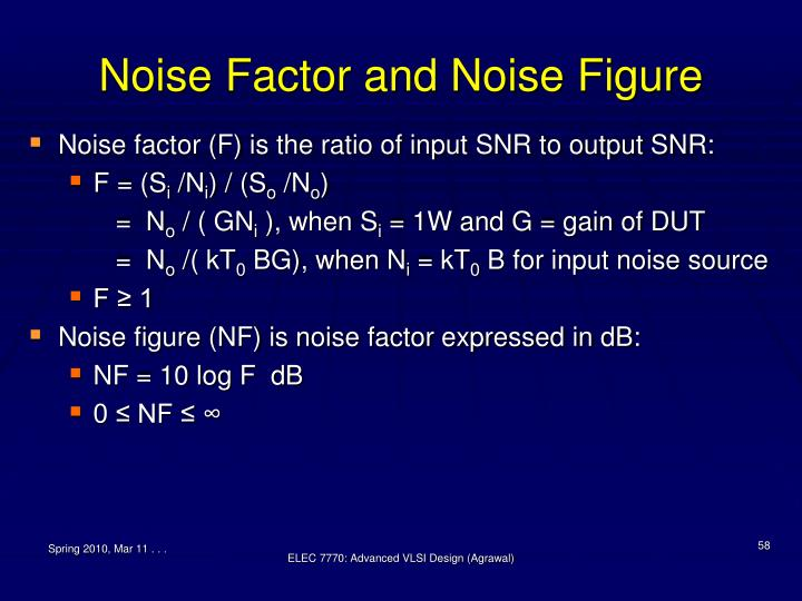 Noise Factor and Noise Figure