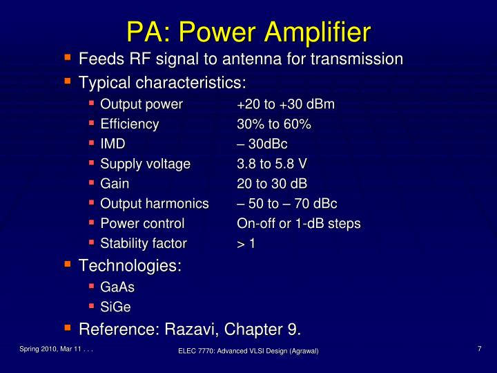PA: Power Amplifier