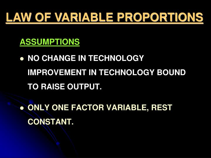 LAW OF VARIABLE PROPORTIONS