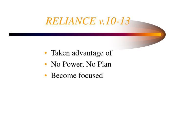 RELIANCE v.10-13