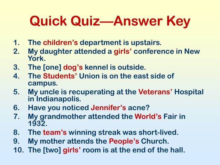 Quick Quiz—Answer Key