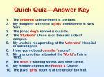 quick quiz answer key