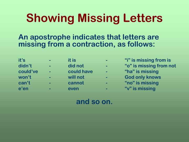 Showing Missing Letters