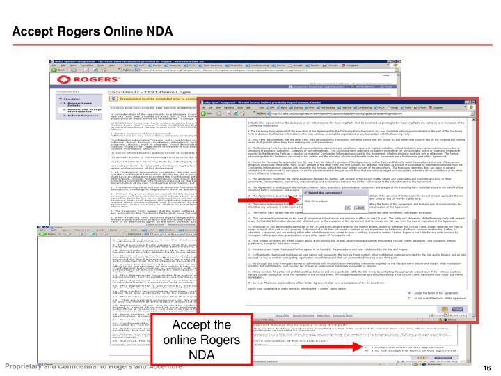 Accept Rogers Online NDA