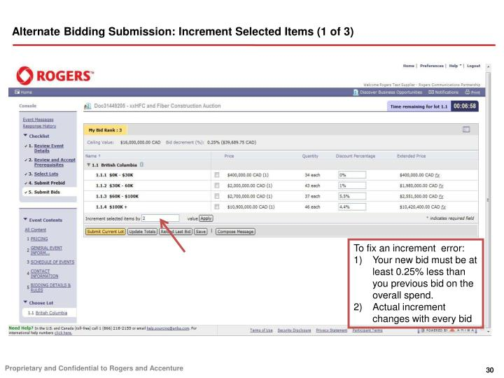 Alternate Bidding Submission: Increment Selected Items (1 of 3)