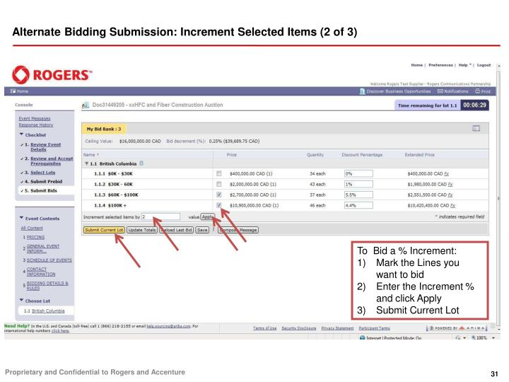 Alternate Bidding Submission: Increment Selected Items (2 of 3)