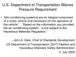 u s department of transportation waives pressure requirement
