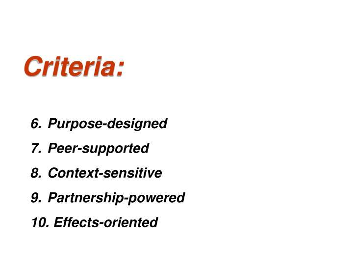 Criteria: