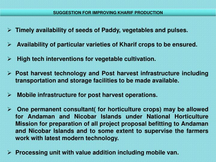 SUGGESTION FOR IMPROVING KHARIF PRODUCTION