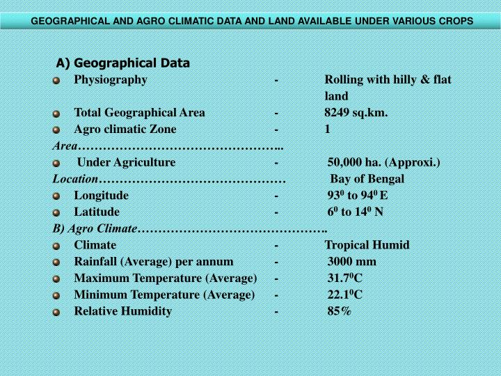 GEOGRAPHICAL AND AGRO CLIMATIC DATA AND LAND AVAILABLE UNDER VARIOUS CROPS