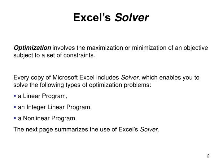 Excel's