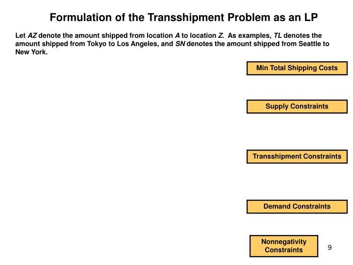 Formulation of the Transshipment Problem as an LP