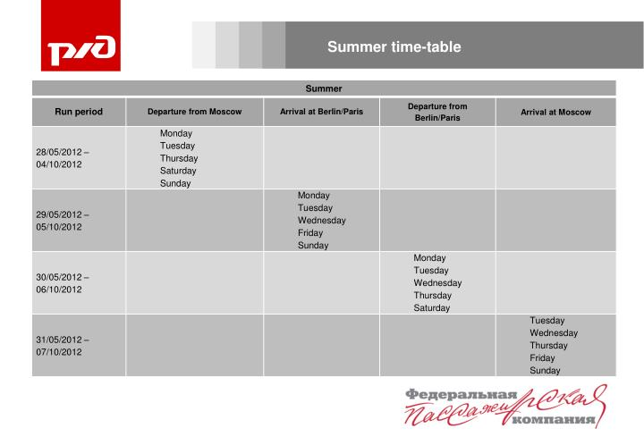 Summer time-table