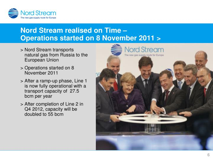 Nord Stream realised on Time –