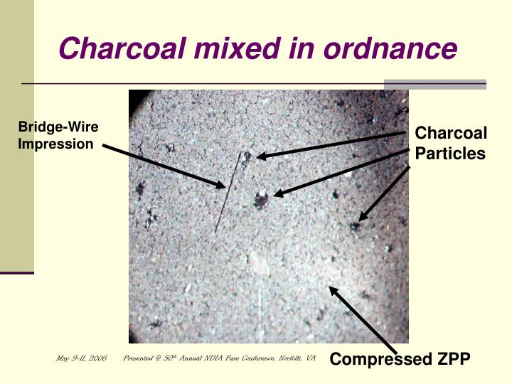 Charcoal mixed in ordnance