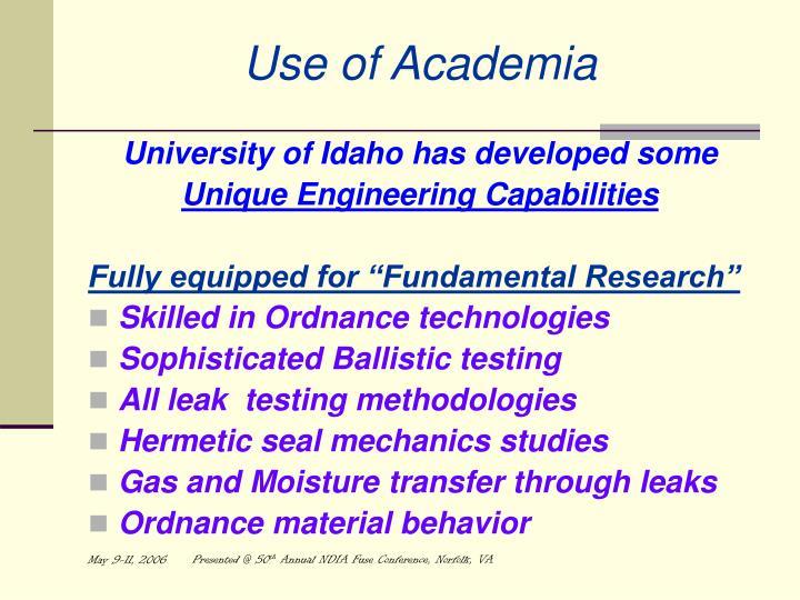 Use of Academia